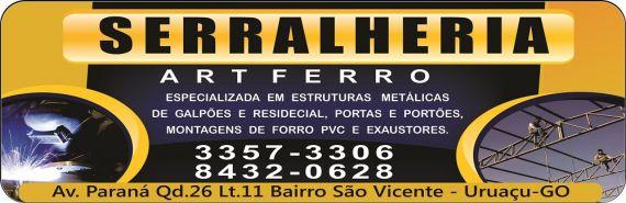 4ae36f10594 SERRALHERIA ART FERRO em Uruaçu GO - Disk Empresarial - Telefones ...